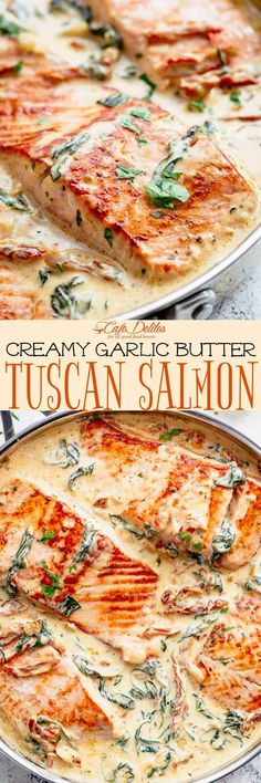 Creamy Garlic Butter Tuscan Salmon is a restaurant quality pan seared salmon in . - Creamy Garlic Butter Tuscan Salmon is a restaurant quality pan seared salmon in – Salmon Recipes - Fish Recipes, Seafood Recipes, Dinner Recipes, Cooking Recipes, Healthy Recipes, Dutch Recipes, Whole30 Recipes, Kitchen Recipes, Eating Clean