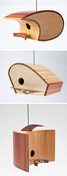 These might just be the world's coolest birdhouses. They're made from tropical hardwood scraps sourced from floor manufacturers and are assembled using water ba