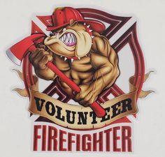 Firefighter Bulldog Metal Sign 18 x 18 Inches Firefighter Decals, Firefighter Shirts, Volunteer Firefighter, Firefighters, Firemen, Firefighter Tattoos, Fire Dept, Fire Department, Car Bumper Stickers