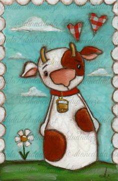 Your place to buy and sell all things handmade Cartoon Painting, Cow Painting, Cute Paintings, Original Paintings, Cardboard Animals, Cow Pictures, Circle Game, 3rd Grade Art, Cute Cows