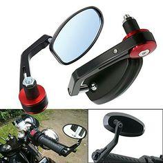 ViZe 10mm Side Bar Mirror Bar End Mirrors Universal Rearview Miroir For Motorcycle Street Bikes Motif Black