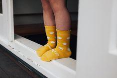 Cute kids socks yellow with natural spots. Merino wool, New Zealand made. Fun Socks, Kids Socks, Cute Kids, Merino Wool, Yellow, Natural, Collection, Design, Style
