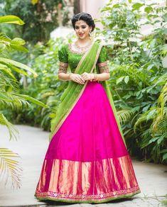 Half Saree Lehenga, Lehenga Saree Design, Saree Dress, Bridal Lehenga, Lehenga Gown, Indian Lehenga, Sari Blouse, Sari Silk, Gown Dress