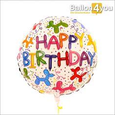 Happy Birthday Ballonfiguren     Zahlreiche bunte Ballonfiguren zieren dieses Ballonbukett. Ob es sich dabei um Hunde, Katzen oder Pferde handelt - der Phantasie der beschenkten Person sind dabei keine Grenzen gesetzt.