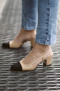 Chanel sling back pumps and mum jeans