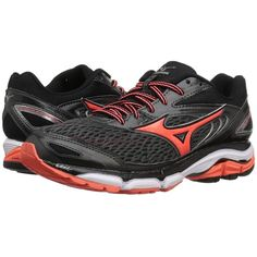 Mizuno Wave Inspire 13 (Dark Shadow/Fiery Coral/White) Women's Running... ($120) ❤ liked on Polyvore featuring shoes, athletic shoes, mizuno shoes, white running shoes, wedge shoes, cushioned running shoes and lace up wedge shoes