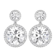 12.02 Carats of Round Brilliant Diamonds Drop Earrings | From a unique collection of vintage dangle earrings at https://www.1stdibs.com/jewelry/earrings/dangle-earrings/