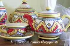 Tea time. Handpainted. Ceramica dip.a mano #Majolica #Italy http://ceramicamia.blogspot.it/