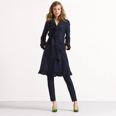 Love, Love, Love this trench!  Navy with ruffles; how can you go wrong?!