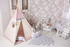 Tipi Tent Boho Pink - set teepee 5 el. Kids Tents, Teepee Kids, Indian Teepee, Childrens Teepee, Teepee Play Tent, Woodland Nursery Girl, Fashion Room, Kids Fashion, Pink Kids