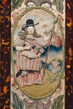 *2*  Mirror with Jael and Barak. Embroidered mirror frame,  c.1672. British.... The figure of Barak is worked separately and attached over an under drawing. The face and arms are made with silk satin padded with wool, his garments are in detached buttonhole stitch worked on wire. His hat band, neck tie, gaiters and shoelaces were all worked in a braiding technique.