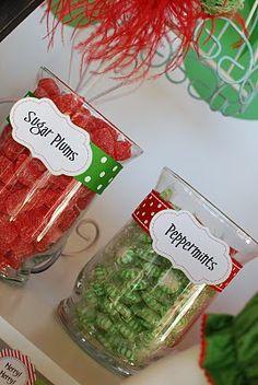 Christmas Party Sweet Shoppe: sugar plums, peppermints, elf kisses, santa's cookies