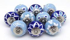 FP37 Set of 10 Blue & White Ceramic Knobs [FP37] - £28.50 : These Please Ltd