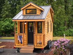 Atticus a 178 sq ft tiny house from the Tumbleweed Tiny House Company. Available for rent at the Mt. Hood Village Resort.