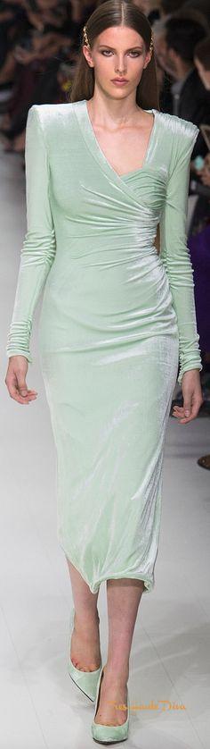 Versace Spring 2018 RTW #MFW #ss18 pastel green velvet dress