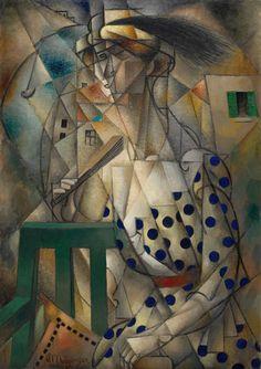 Collection Online   Jean Metzinger. Woman with a Fan (Femme à l'éventail). ca. 1912–13 - Guggenheim Museum