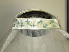 Vtg old Wedding Veil Headpiece Floral Bride layered floor length train | eBay