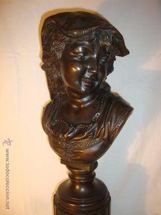 elegante bronce patinado busto niña sonriendo firma c. dorn sobre peana columna y base marmol, S.XIX