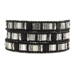 Chan Luu - Black Mix Triple Wrap Bracelet on Natural Black Leather, $115.00 (http://www.chanluu.com/wrap-bracelets/black-mix-triple-wrap-bracelet-on-natural-black-leather/)