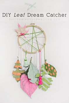 Learn how to create a fun colorful DIY Leaf Dream Catcher with collected leaves from your yard this Autumn season! A fun Fall craft for kids and adults alike. Delineate Your Dwelling Fall Crafts For Kids, Diy For Kids, Kids Crafts, Diy And Crafts, Craft Projects, Arts And Crafts, Kids Nature Crafts, Diy Tumblr, Lace Dream Catchers