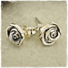 Tiny Fine Silver Rosebud Studs on Sterling Silver by rmdjewellery, $25.00
