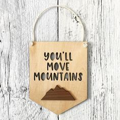The perfect banner for your little one's bedroom 💛 . Woodland Theme, Woodland Nursery, Nursery Decor, Room Decor, Wall Decor, Move Mountains, Kids Decor, Wood Design, Banners
