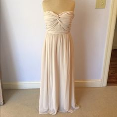"""ASOS Formal Dress Cream lightweight chiffon, fully lined dress from ASOS. Size M - 12 (US 8). Mannequin is 5'2"""". Only worn once, but has small thread pulls on the left side and minor pulls on the zipper. Both BARELY noticeable! Still in great shape ASOS Dresses Prom"""