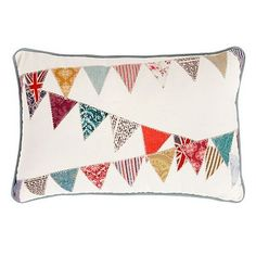 Cream canvas bunting cushion £20 in sale