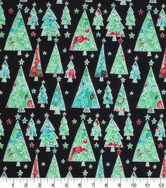Keepsake Calico Christmas Cotton Fabric-Scrolly Trees And Stars~Item ID 15204183