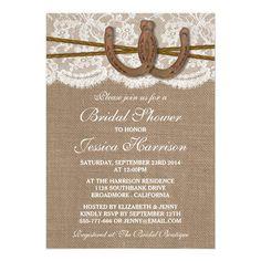 Rustic Burlap & Lace Horseshoe Bridal Shower 5x7 Paper Invitation Card / http://www.deerpearlflowers.com/rustic-farm-wedding-horseshoe-ideas/