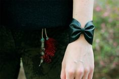 Leather Bow Bracelet  •  Free tutorial with pictures on how to make a leather cuff in under 30 minutes