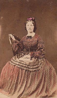 mid-19th century cdv, print dress, apron, hair ribbon