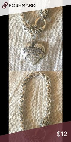 Silver Tone Cheer Charm Link Bracelet Silver Tone Link Bracelet with Cheer Charm Jewelry Bracelets