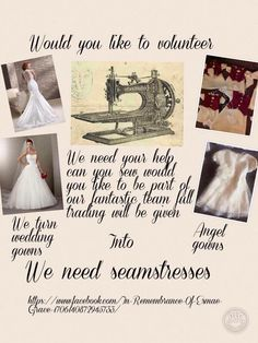 Sewing Volunteers Are Needed To Help With Turning Weddingdresses Into Angel Gowns For Babies