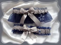 Dallas COWBOYS Silver Ribbon Wedding Garter Set by TheArtofSports, $24.99