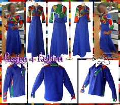 Royal blue and Ndebele empire fit dress. Bodice with Ndebele print and sleeves and an underbust belt. Mens matching Ndebele shirt in royal blue. South African Traditional Dresses, Traditional Wedding Dresses, Traditional Outfits, Mother Daughter Outfits, African Shirts, Wedding Dress Pictures, African Print Fashion, African Design, Dress Making