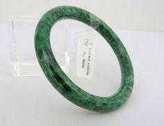 Untreated Grade A Natural Floral Green Jadeite Jade Vintage Bangle Bracelet 53.5MM by wandajewelry2013 on Etsy