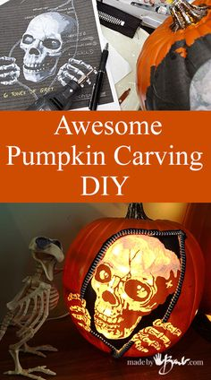 Awesome Pumpkin Carving DIY - Made By Barb Faux pumpkin rotary tool free pattern Dremel Pumpkin Carving, Disney Pumpkin Carving, Pumpkin Carving Patterns, Pumpkin Uses, Diy Pumpkin, Pumpkin Crafts, Diy Halloween Decorations, Halloween Crafts, Halloween History