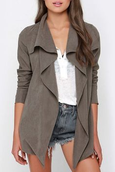Long Sleeve Irregular Hem Trench Coat