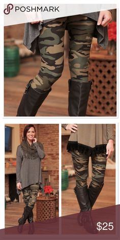 Camo Leggings OS Back in stock! Preorder now will ship Wednesday or Thursday. One size fits small - large. Soft brush knit leggings are amazingly comfortable! 92 % polyester, 8 % spandex. Have the look and feel of Lularoe leggings. Not sheer or see through.                                              Not LuLaRoe!!!  Brand- Infinity Raine. Infinity Raine Pants Leggings