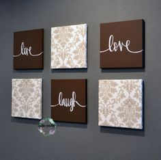 Live Laugh Love Wall Art 6 Pack Canvas Wall By GoldenPaisley