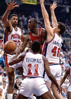 Michael Jordan Chicago Bulls Detroit Pistons Bill Lambier Isaiah Thomas James Edwards