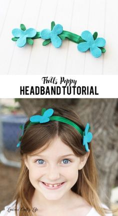 No Sew Trolls Poppy Headband Tutorial. Learn how to easily make a Poppy headband. Includes a free template for the flowers and leaves.