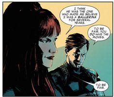 Bucky and Natasha are definitely my Marvel OTP. I love that she calls him James.