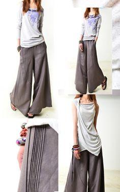 Moon forgot - linen skirt pants (K1206b). via Etsy.