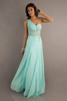 Aqua Long One Shoulder Prom Gown with Sheer Back