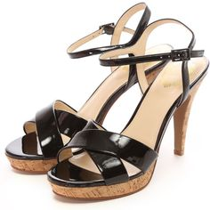 Mode Classe サンダル / black patent platform heels on ShopStyle