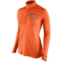 Nike Denver Broncos Women's Orange Stadium Element 1/2 Zip Performance Jacket