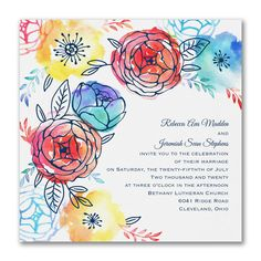 Primary Flowers - Invitation
