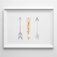 Metallic Arrow Feathers Giclee Wall Art Print - Faux Silver & Gold Foil Tribal - Modern Vintage